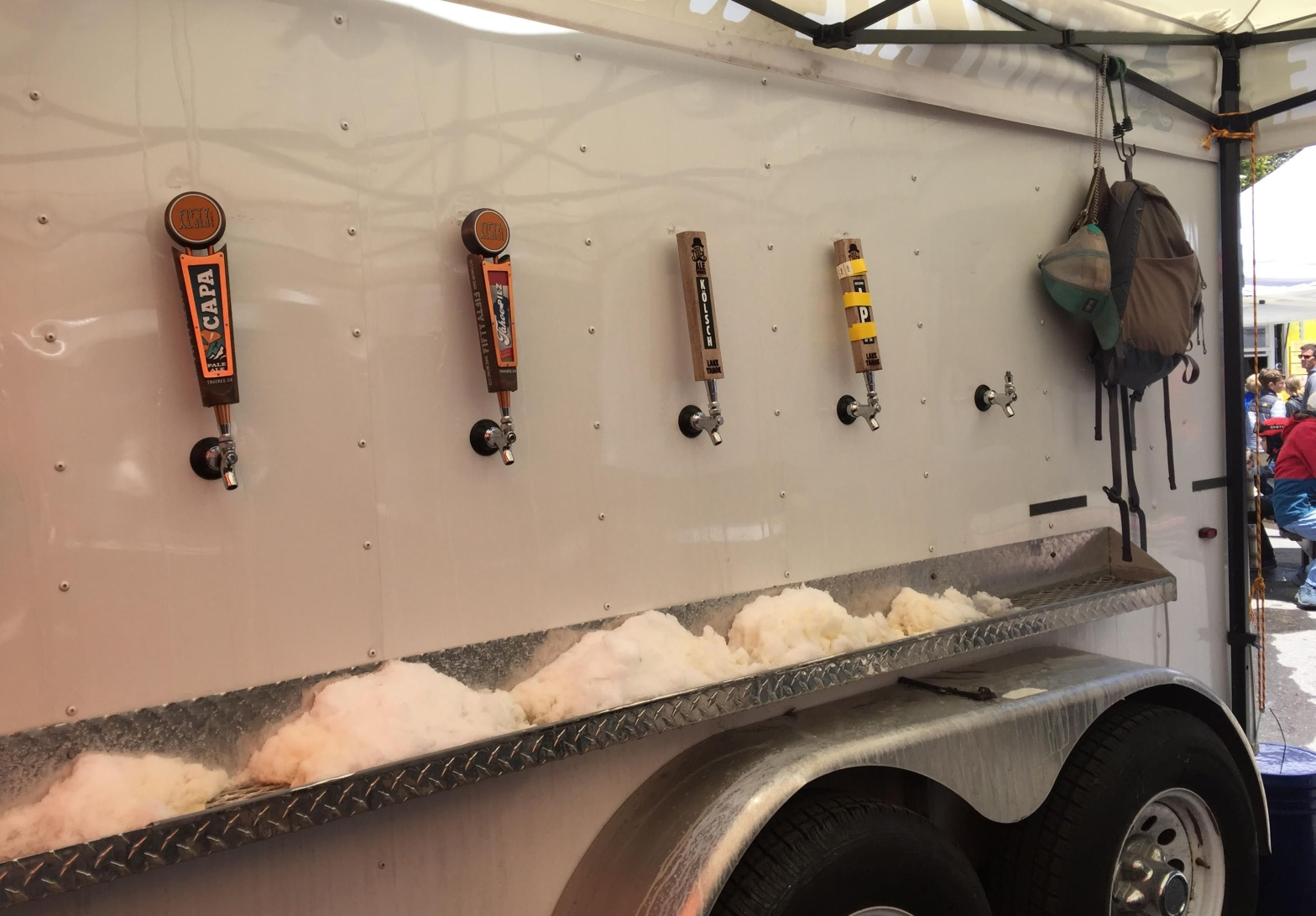 4 taps on a beer trailer